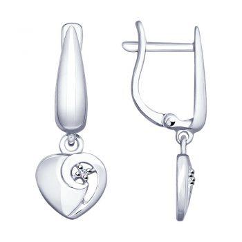 сребърни обеци, сърце, диамант, родиево покритие, sokolov,