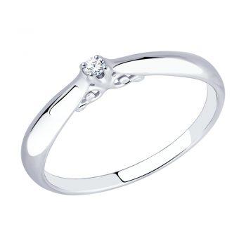 сребърен пръстен, диамант, родиево покритие, sokolov,