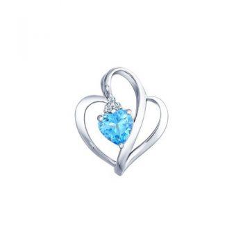 нежен сребърен медальон, топаз, цирконии, сърце, родиево покритие,