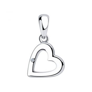 сребърен медальон, сърце, диамант, родиево покритие , sokolov,