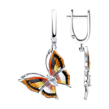 висящи сребърни обеци, пеперуда, цветен емайл, цирконии, родиево покритие, sokolov,