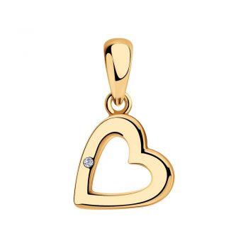 нежен сребърен медальон, сърце, диамант, розова позлата, sokolov,