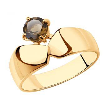сребърен пръстен, розова позлата, опушен кварц, sokolov,