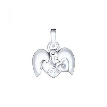 сребърен медальон, сърце, диамант, родиево покритие, sokolov,