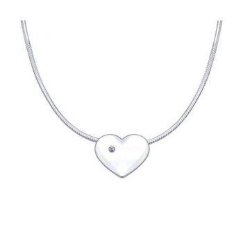 сребърно колие, сърце, диамант, родиево покритие, sokolov,