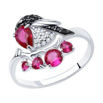 нежен сребърен пръстен, рубин-корунд, цирконии, родиево покритие, птиче, sokolov,