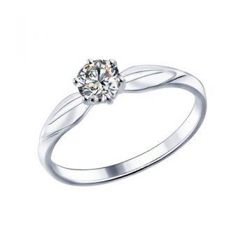 сребърен пръстен, сваровски CZ, родиево покритие, sokolov,