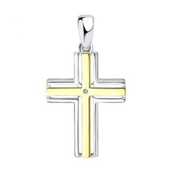 сребърен кръст, диамант, жълта позлата, родиево покритие, sokolov