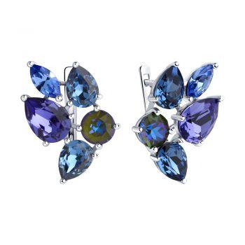 елегантни сребърни обеци, кристали сваровски, родиево покритие, sokolov,