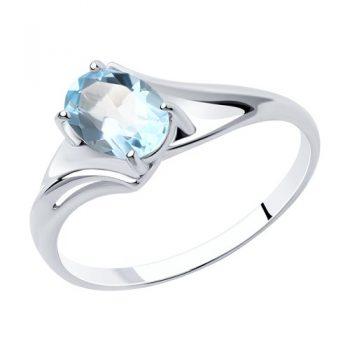 сребърен пръстен, син топаз, родиево покритие, sokolov,