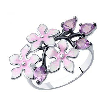нежен сребърен пръстен, аметист, цветен емайл, пръстен с цветя, родиево покритие, sokolov,