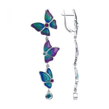 висящи атрактивни обеци, Пеперуди, цветен емайл, цирконии, родиево покритие, sokolov,