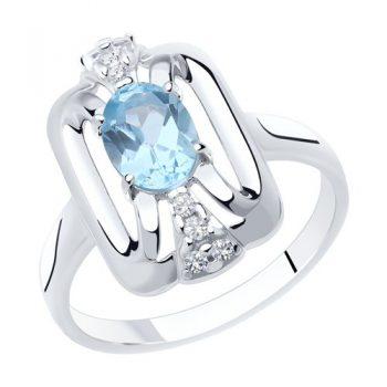 сребърен пръстен, син топаз, цирконий, родиево покритие, sokolov,