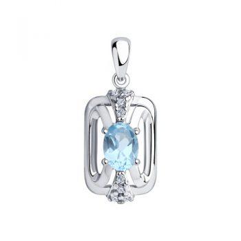сребърен медальон, син топаз, цирконий, родиево покритие, sokolov,