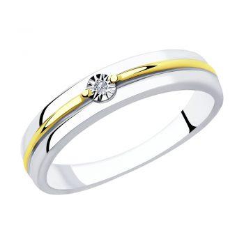 сребърен пръстен, пръстен тип халка, диамант, жълта позлата, родиево покритие, sokolov,