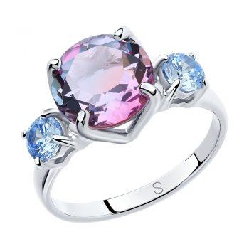 нежен сребърен пръстен, ситал цвят хамелеон, син циркон, родиево покритие