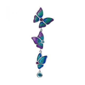 атрактивен сребърен медальон, Пеперуди, цветен емайл, цирконии, родиево покритие, sokolov,