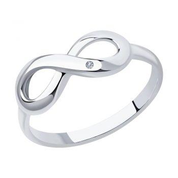 сребърен пръстен, диамант, знак безкрайност, родиево покритие, sokolov