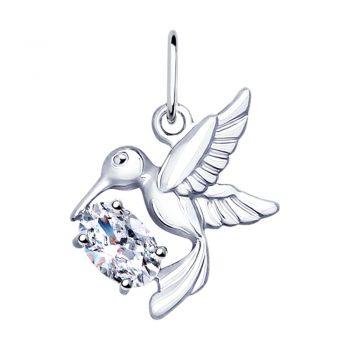 нежен сребърен медальон, птиче, колибри, цирконии, родиево покритие, sokolov,
