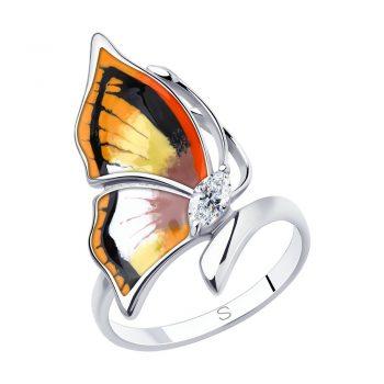 атрактивен сребърен пръстен, пеперуда, цветен емайл, цирконии, родиево покритие, sokolov,