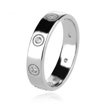 сребърен пръстен, по модел на Cartier, пръстен тип халка, цирконии, родиево покритие