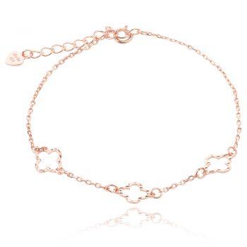 нежна сребърна гривна, без камък, цвете, розова позлата,