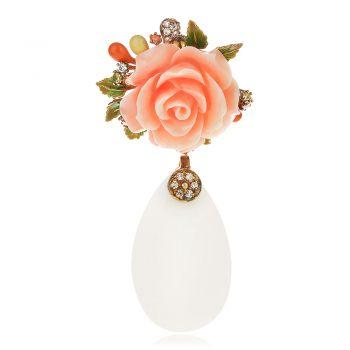 атрактивен сребърен медальон, жълта позлата, пресован корал, бял оникс, цирконий, цвете, ganezzi, роза,