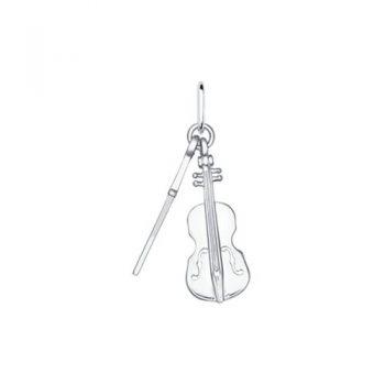 сребърен медальон, виолончело, без камък, родиево покритие, Sokolov