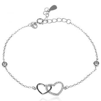 нежна сребърна гривна, сърце, цирконий, родиево покритие,