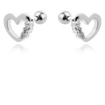 нежни сребърни обеци, сърце, цирконий, родиево покритие,