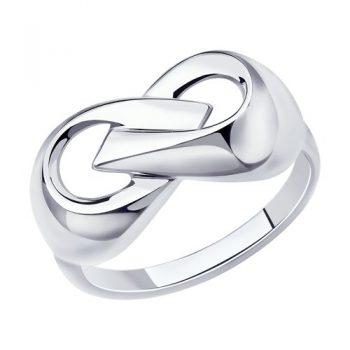 елегантен сребърен пръстен, без камък, родиево покритие, sokolov,