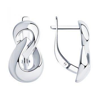 елегантни сребърни обеци, без камък, родиево покритие, sokolov,