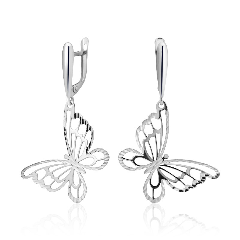 нежни сребърни обеци, пеперуда, лазерна обработка, без камък, родиево покритие, алфа карат,