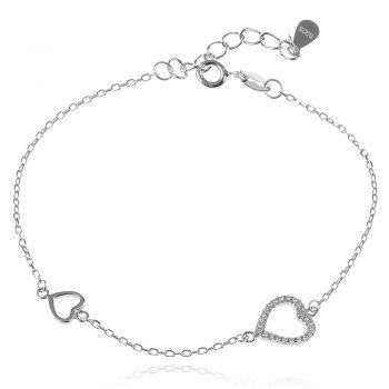 нежна сребърна гривна, сърце, цирконий, родиево покритие