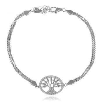 сребърна гривна, дървото на живота, цирконий, родиево покритие,