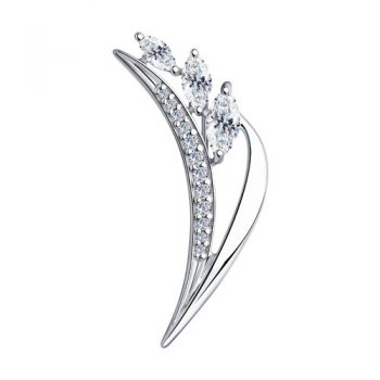 сребърна брошка, флорални мотиви, цирконий, родиево покритие, sokolov,