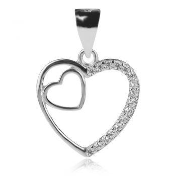 нежен сребърен медальон, сърце, цирконий, родиево покритие,