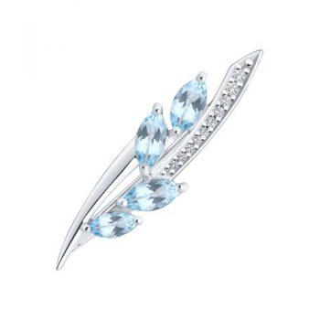 сребърна брошка, син топаз, цирконий, родиево покритие, sokolow