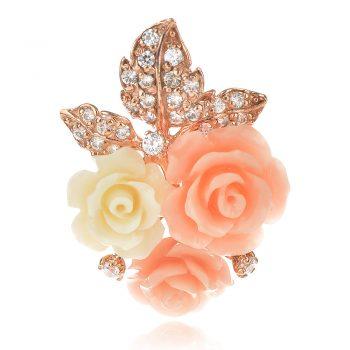атрактивен сребърен медальон, розова позлата, пресован корал, цирконий, цвете, роза, ganezzi,