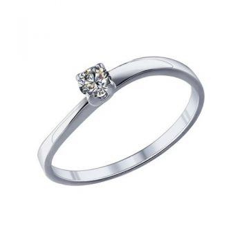 сребърен пръстен, тип годежен, родиево покритие, CZ Swarovski, Sokolov,