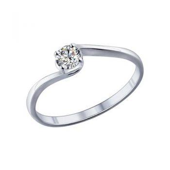 сребърен пръстен, тип годежен, родиево покритие, CZ Swarovski, Sokolov