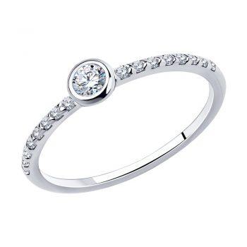 нежен сребърен пръстен, тип годежен, цирконий, родиево покритие, Sokolov