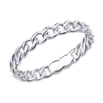 сребърен пръстен, тип халка, без камък, родиево покритие, Sokolov