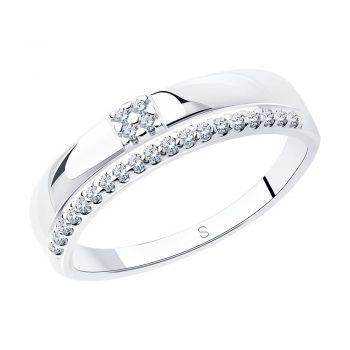 сребърен пръстен, тип халка, цирконий, родиево покритие, Sokolov