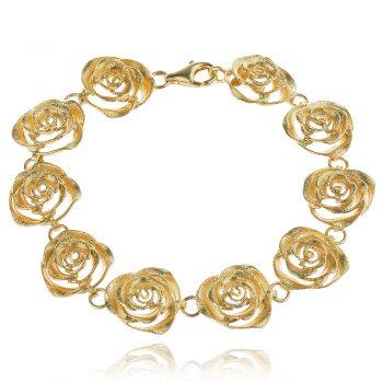луксозна сребърна гривна, рози, жълта позлата, ganezzi,