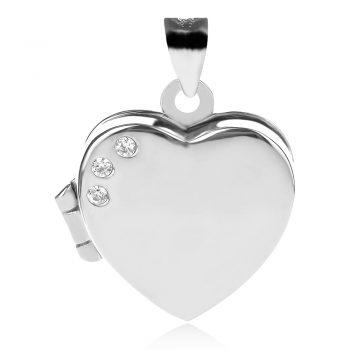 сребърен медальон, сърце, отварящ се медальон, цирконий, родиево покритие,