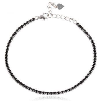 елегантна сребърна гривна, черен цирконий, родиево покритие