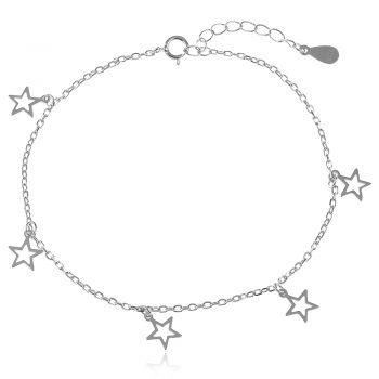 нежна сребърна гривна, без камък, висящи елементи, родиево покритие, звезда