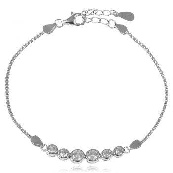 елегантна сребърна гривна, цирконий, родиево покритие,