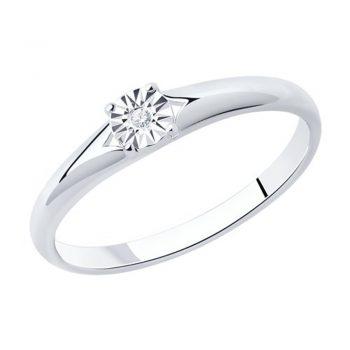 сребърен пръстен, диамант, родиево покритие, sokolov